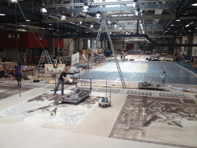 Malsaal in den Werkstätten des Bühnenservice der Opern Berlin