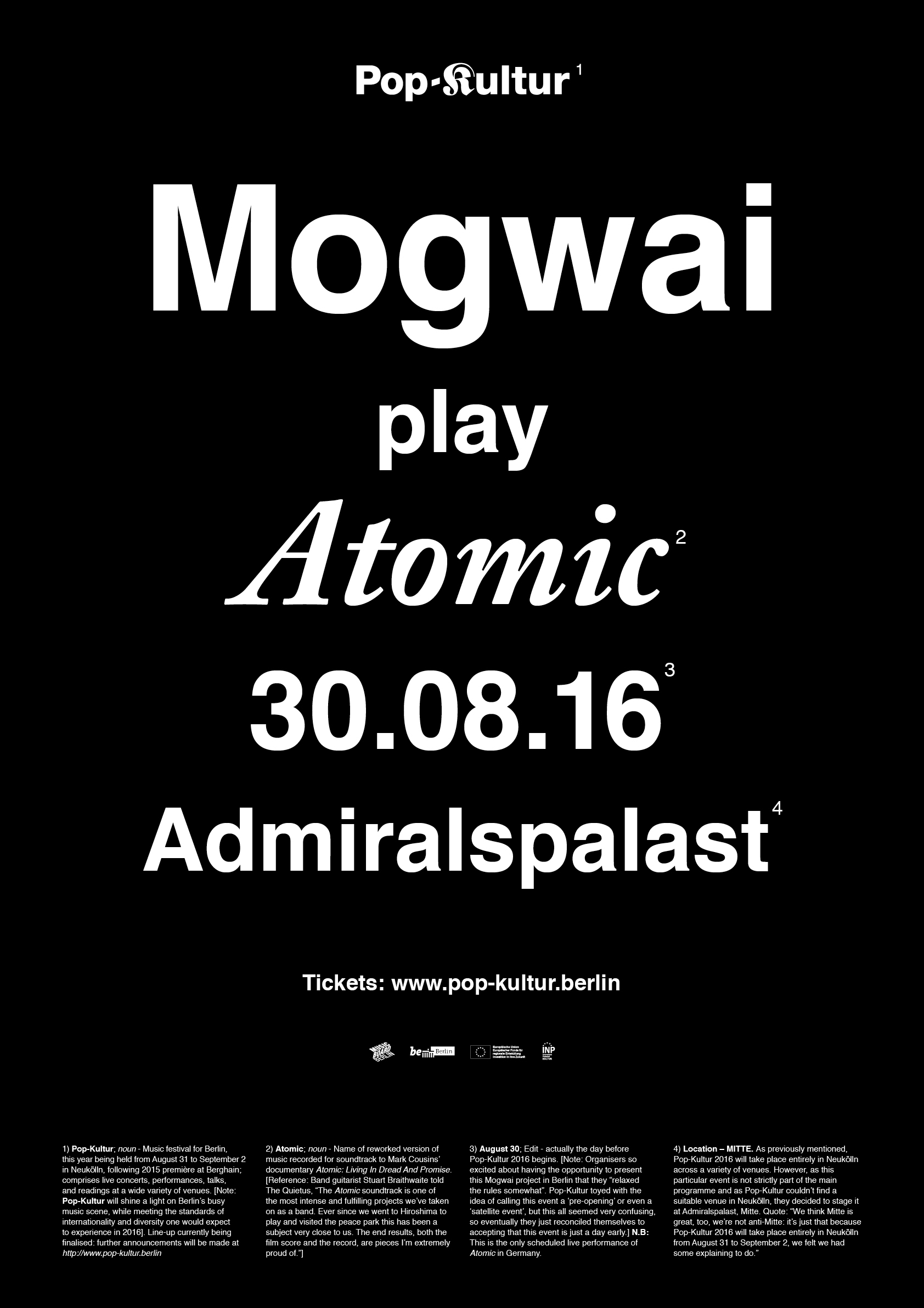 Poster Mogwai play Atomic