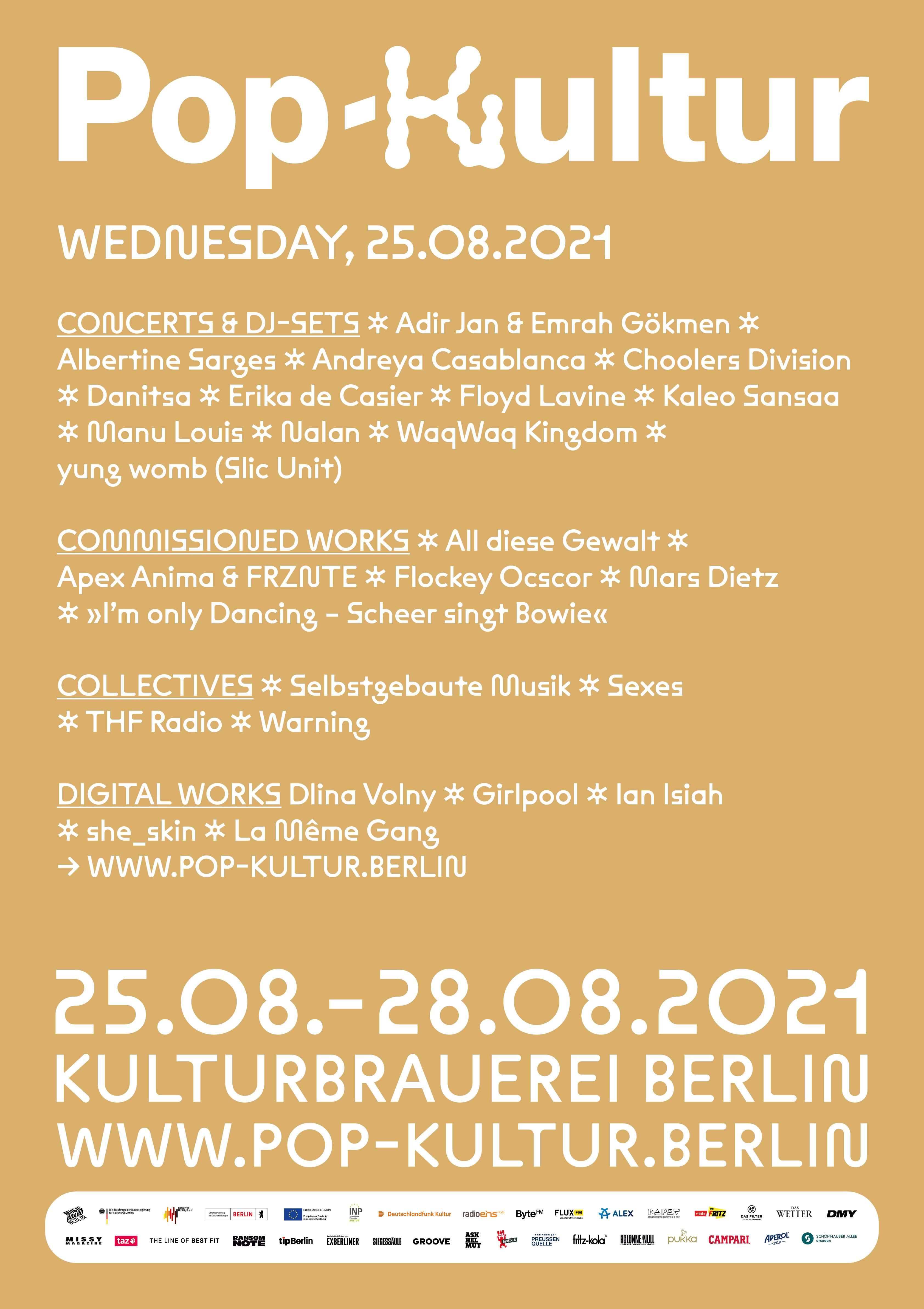 Pop Kultur 2021 Poster Line Up Mittwoch