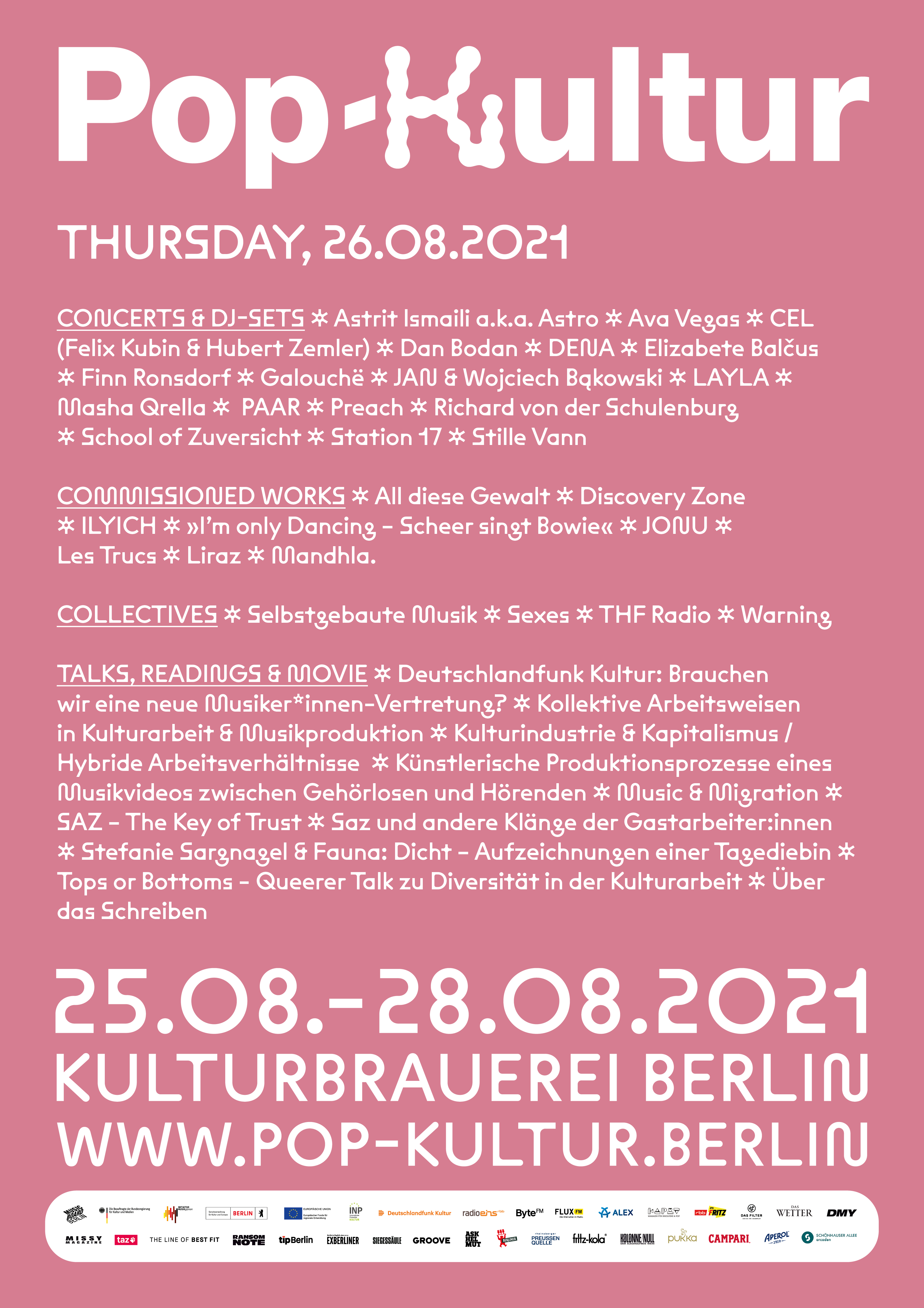 Pop Kultur 2021 Poster Line Up Donnerstag
