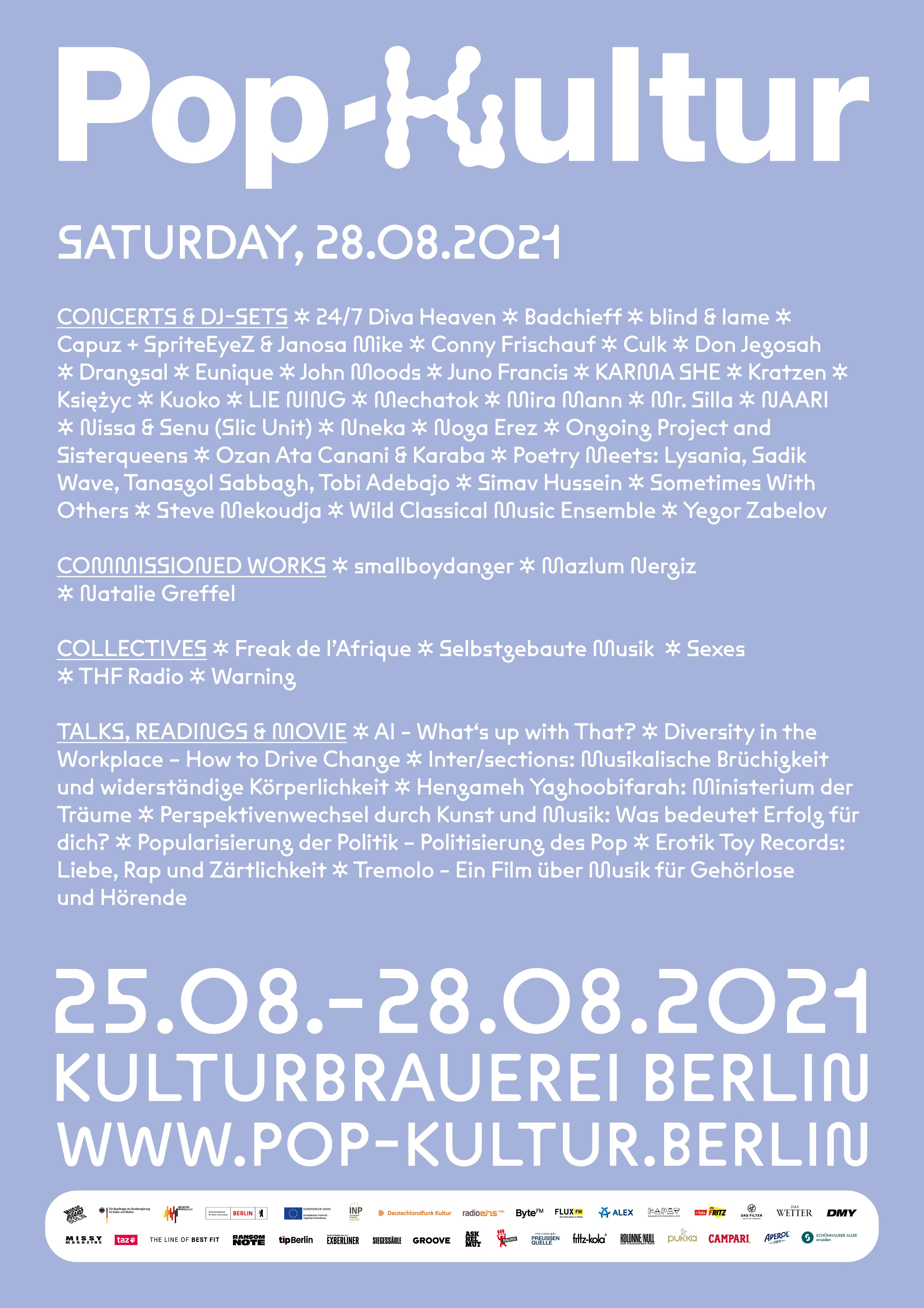 Pop Kultur 2021 Poster Line Up Samstag